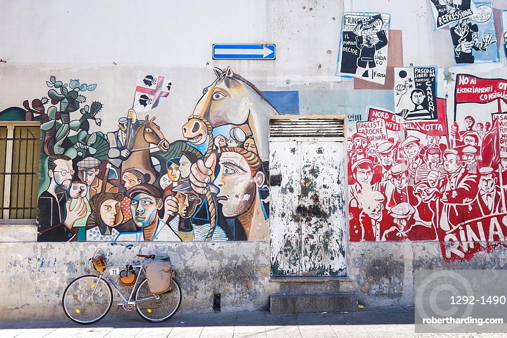 Mural on wall in Orgosolo, Sardinia, Italy, Europe