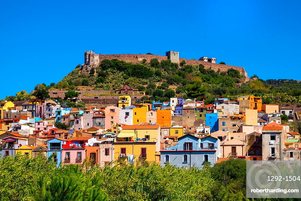 Castle of Serravalle above the town of Bosa, Sardinia, Italy, Europe, Bosa, Sardinia, Italy, Europe
