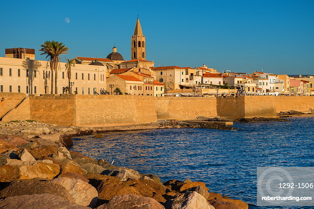 City walls and the cathedral of Alghero, Sardinia, Italy, Europe