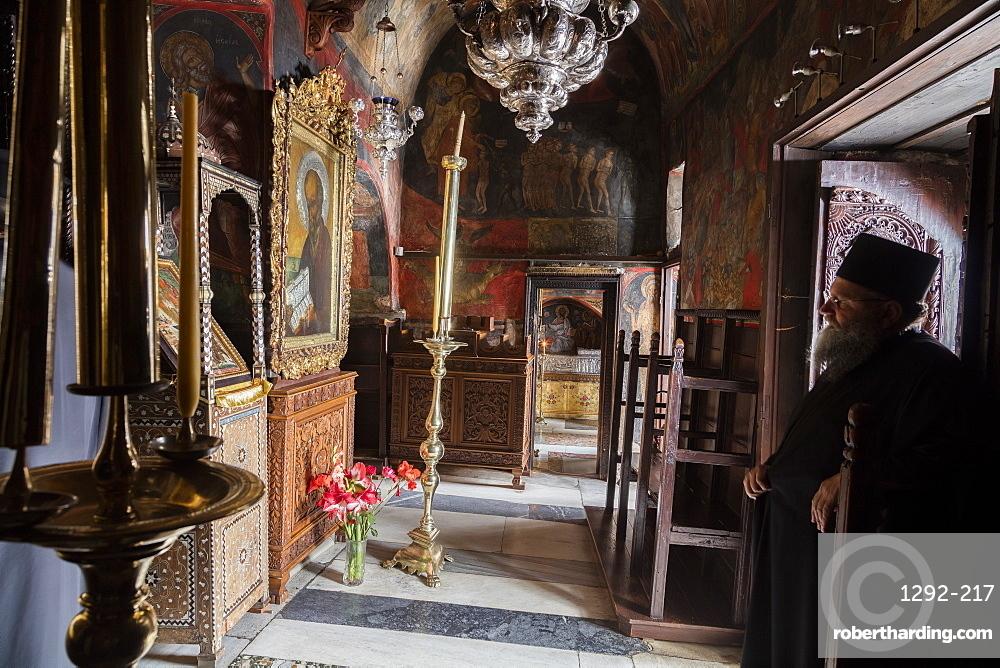 The Main Church, Monastery of St. John the Theologian, UNESCO World Heritage Site, Patmos, Dodecanese, Greek Islands, Greece, Europe