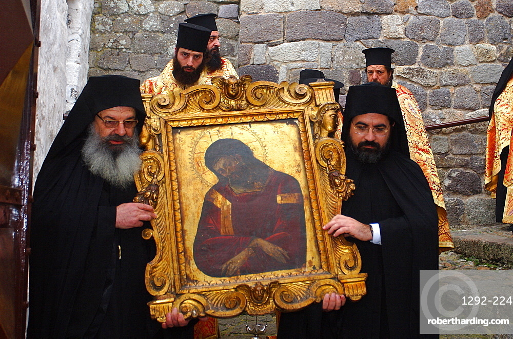The Monastery of St. John the Theologian, UNESCO World Heritage Site, Easter in Patmos, Patmos, Dodecanese, Greek Islands, Greece, Europe