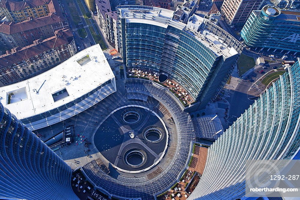 Piazza Gae Aulenti, view from the Unicredit tower, Porta Nuova district, Milan, Lombardy, Italy, Europe