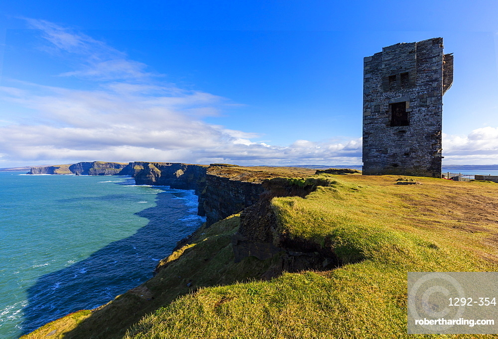 Moher Tower, Cliffs Coastal Walk, County Clare, Munster, Republic of Ireland, Europe