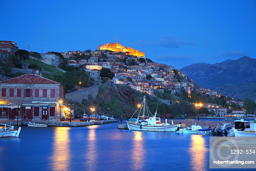The port of Molivos, Lesvos Island, Greek Islands, Greece, Europe