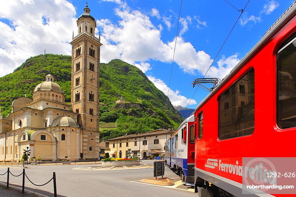 The Bernina Express in Tirano, Lombardy, Italy, Europe