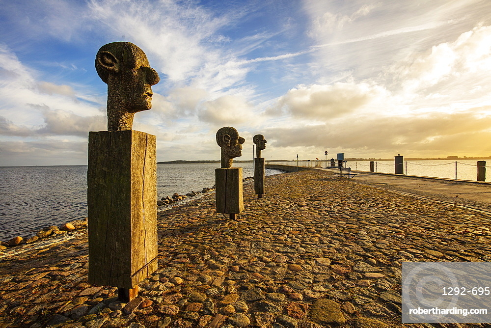 The sculpture group The Three Wise Men', by Johannes Phillip, at the entrance to the harbor in the fishing village of Wieck, Greifswald, Mecklenburg-Vorpommern, Germany, Europe