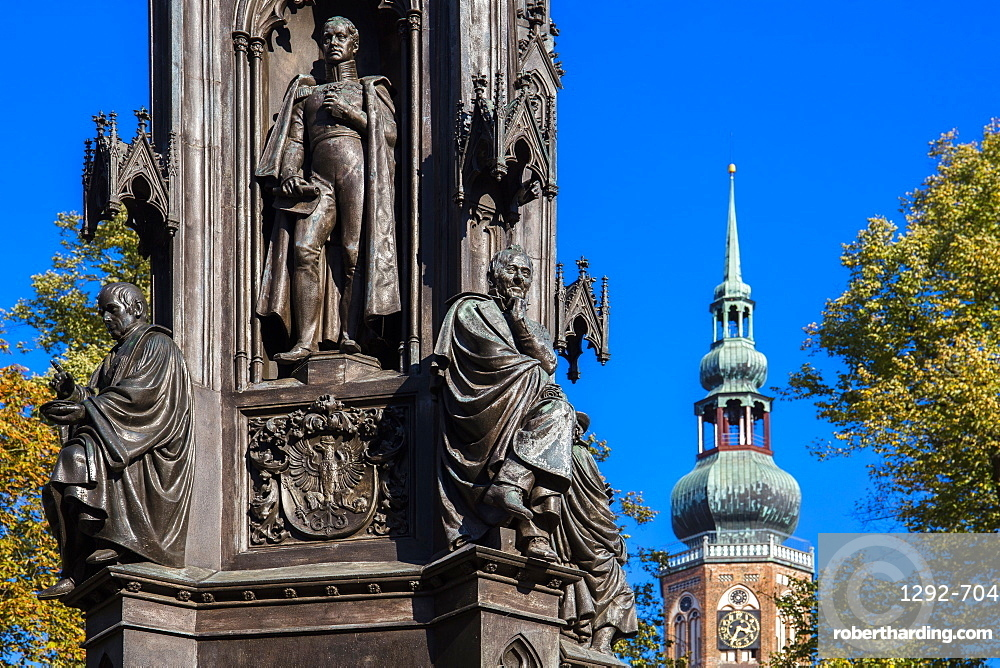 The Rubenow Monument, in front of the University, in Rubenow Square, Greifswald, Mecklenburg-Vorpommern, Germany, Europe