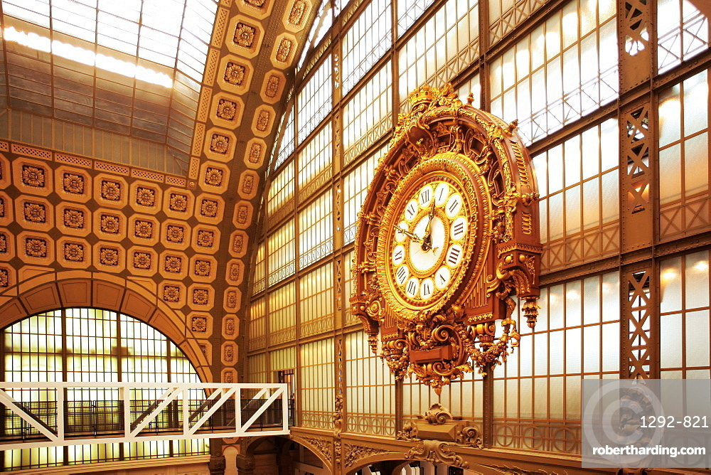 The clock, Orsay Museum (Musee d'Orsay), Paris, France, Europe