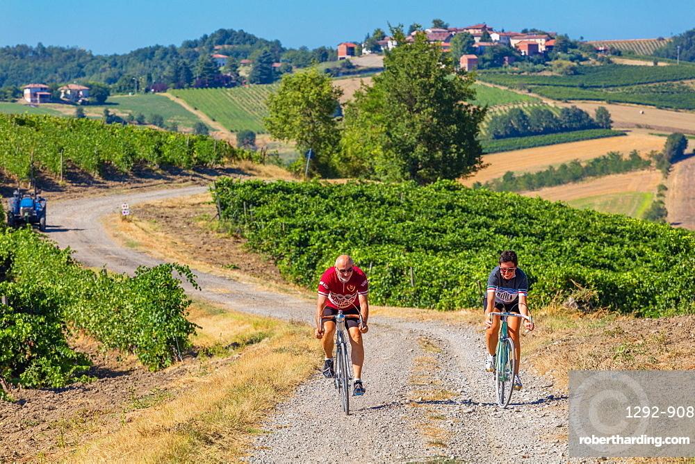 The Rampina, white road of the Cycling race La Mitica, from Villaromagnano to Costa Vescovado, on the Fausto Coppi's roads, Tortona area, Piedmont, Italy, Europe