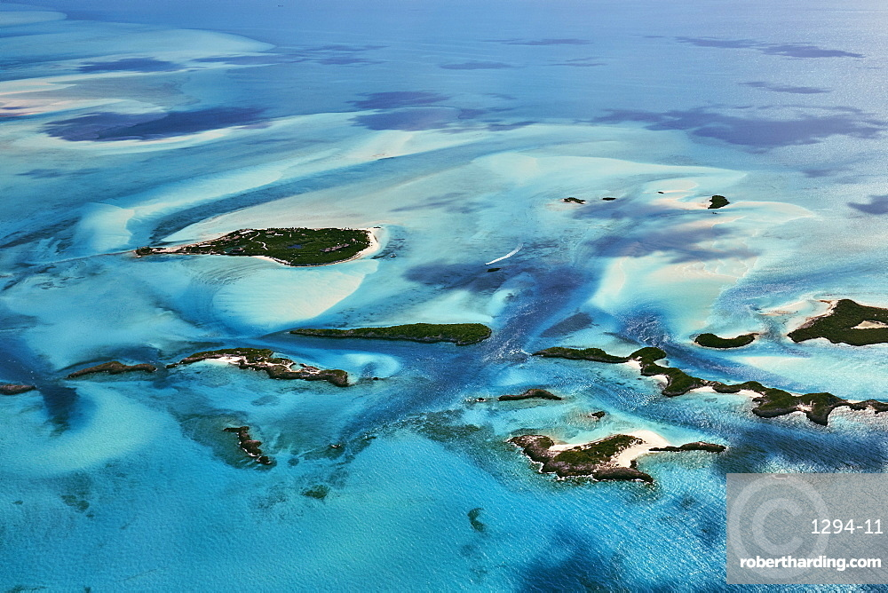 Aerial of lonely boat in the Exuma Keys, Bahamas, West Indies, Atlantic, Central America