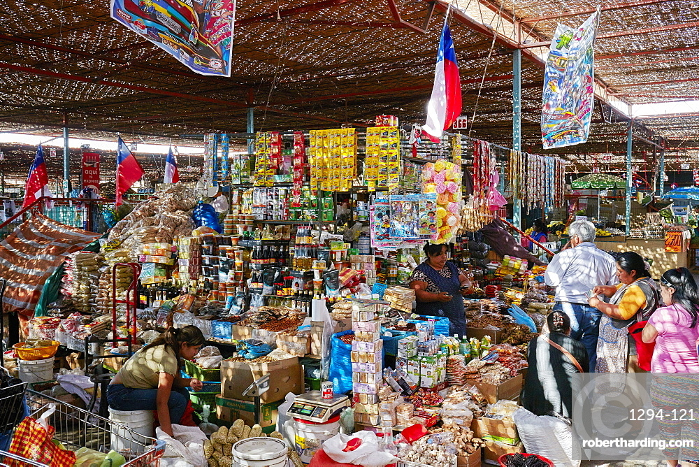 Fruit and spice market in Arica, Chile, South America