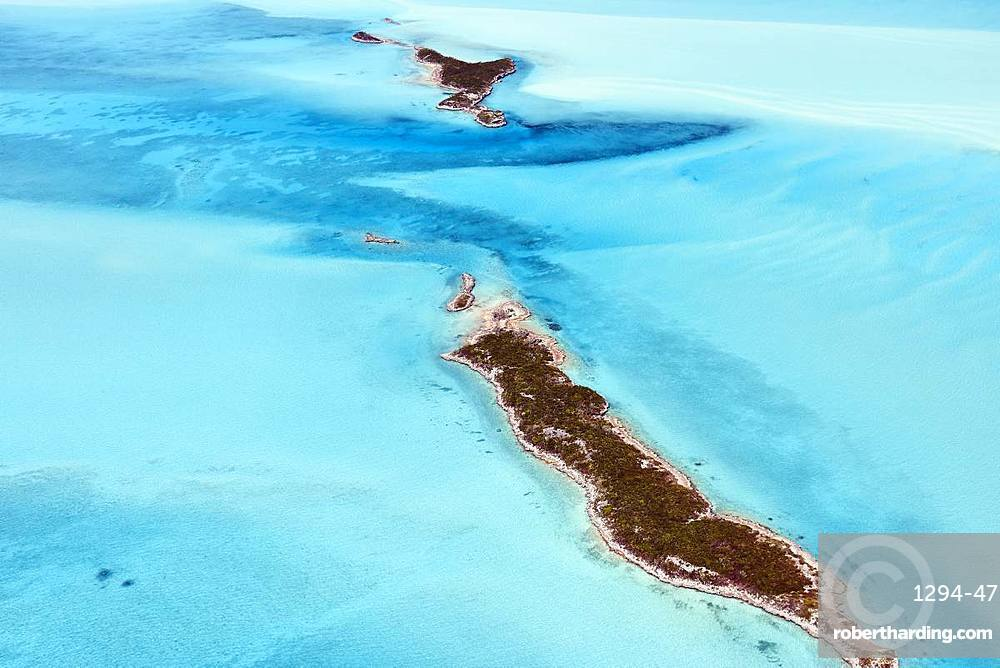 Aerial view of small islands in the shallow waters of the Exumas, Bahamas, West Indies, Central America