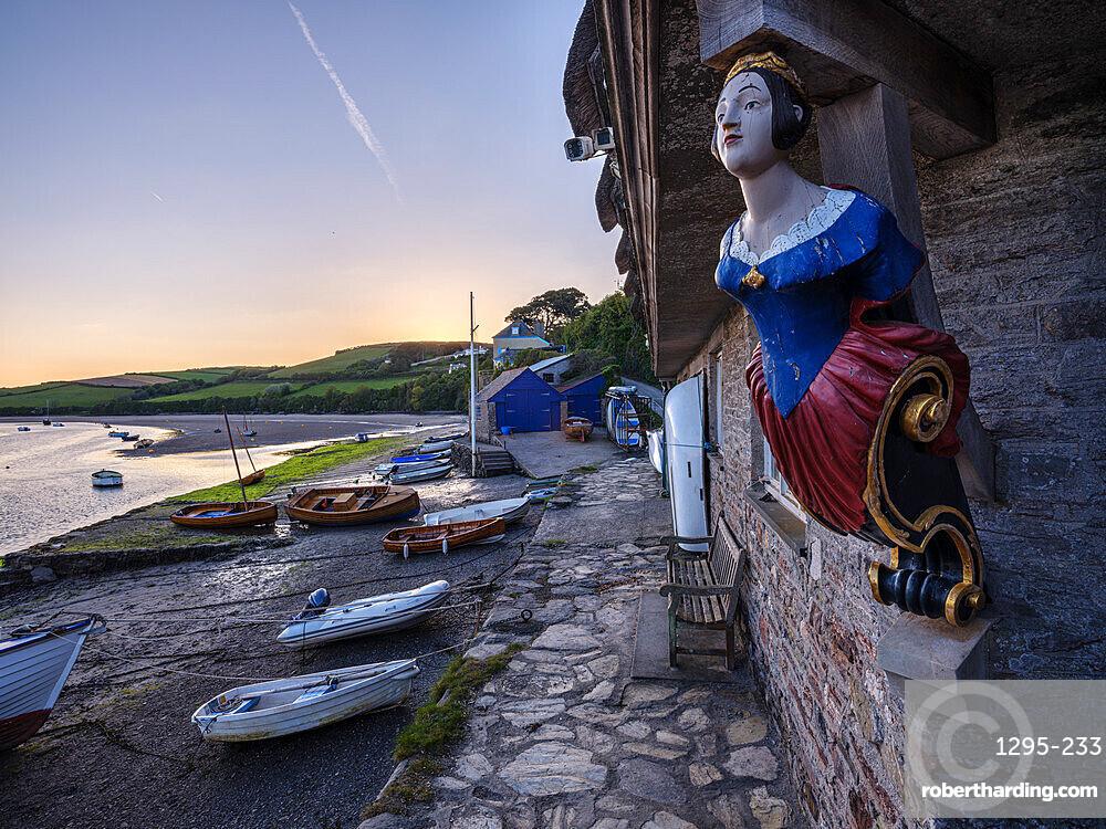 Coronation boat house, boats and River Avon at Bantham, Devon, UK