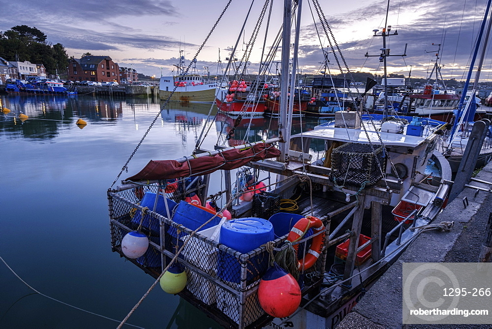 Boats in the harbour of the popular fishing port of Padstow, Cornwall, England, United Kingdom, Europe