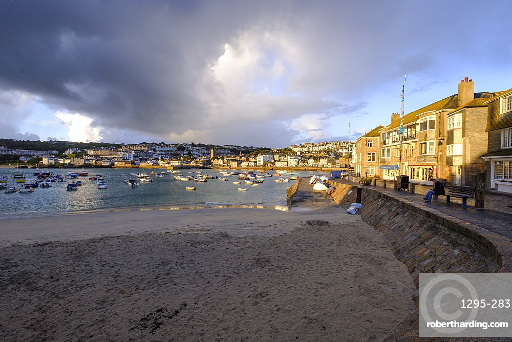 Early morning view across the harbour at the popular and scenic town of St. Ives, Cornwall, England, United Kingdom, Europe