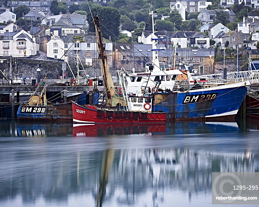 Fishing boats in harbour, Newlyn, Cornwall, England, United Kingdom, Europe