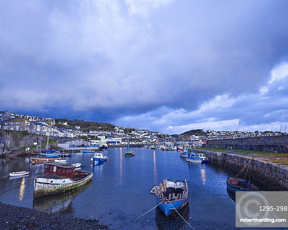 Moody clouds at the fishing port of Newlyn, Cornwall, England, United Kingdom, Europe