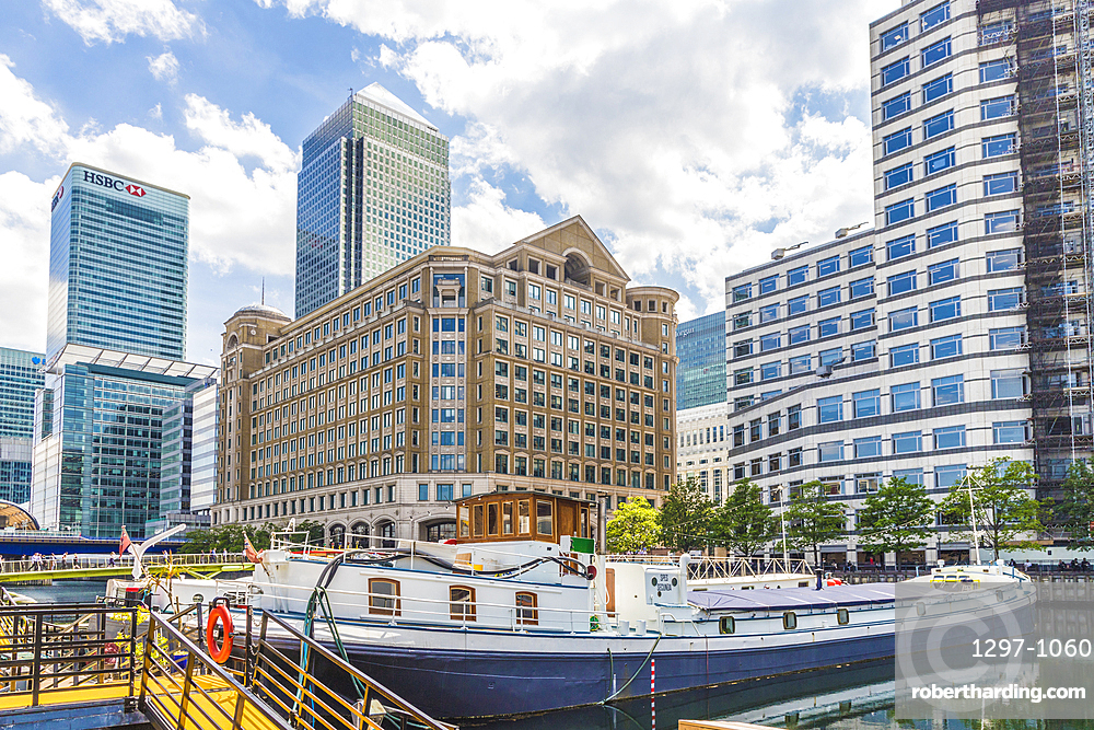 Barges in North Dock in Canary Wharf, Docklands, London, England, United Kingdom, Europe