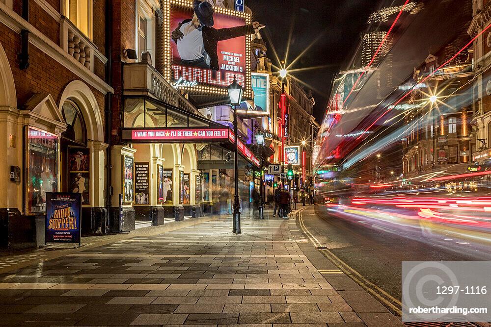 Shaftesbury Avenue light trails at night, London, England, United Kingdom, Europe