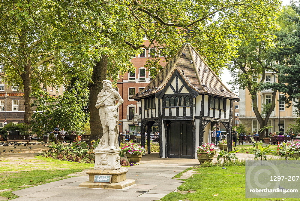 The statue of Charles II and the lodge in Soho Square, London, England, United Kingdom, Europe