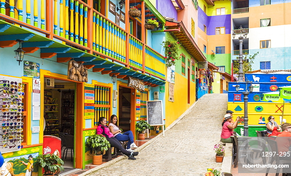 A colourful street scene in Guatape, Colombia, South America