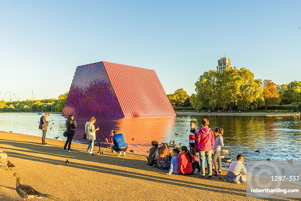 The London Mastaba sculpture, by Christo, on the Serpentine Lake, Hyde Park, London, England, United Kingdom, Europe