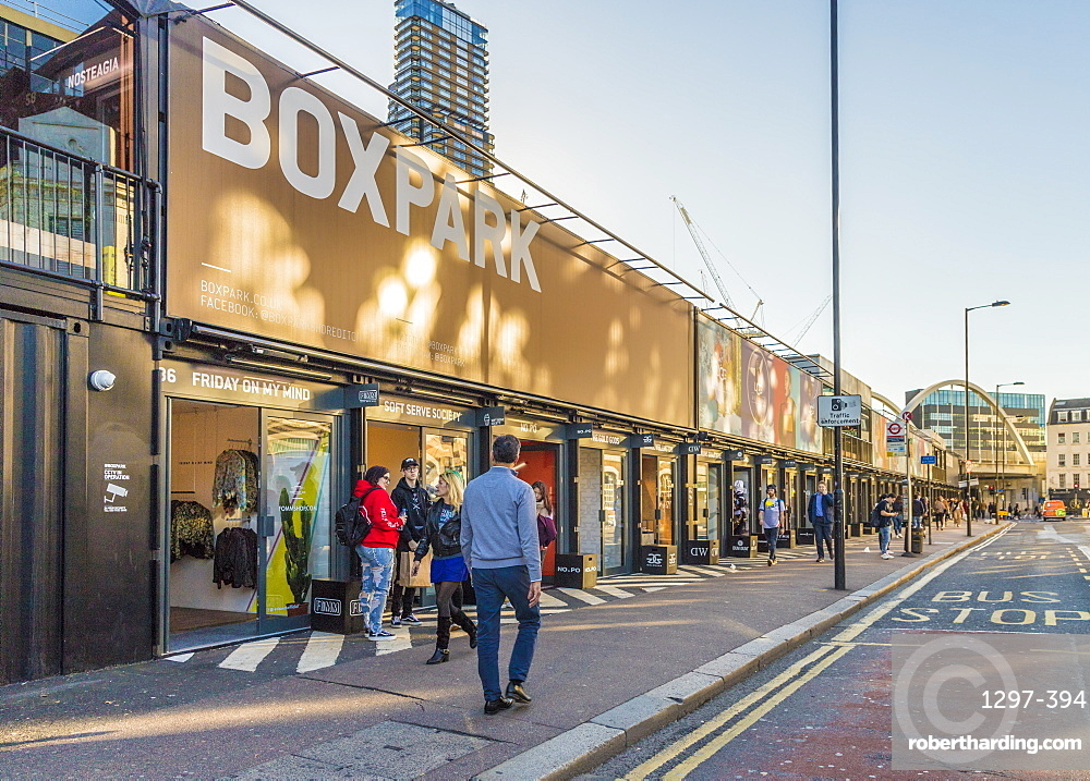 Boxpark Shoreditch, a shopping mall made from shipping containers, London, England, United Kingdom, Europe