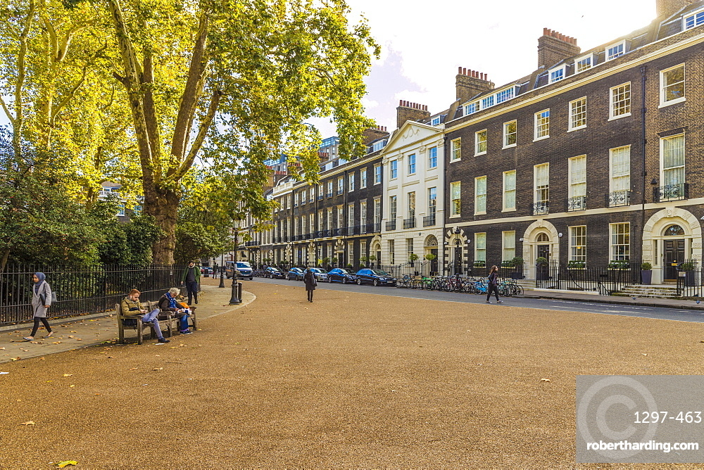 The beautiful Georgian architecture in Bedford Square in Bloomsbury, London, England, United Kingdom, Europe