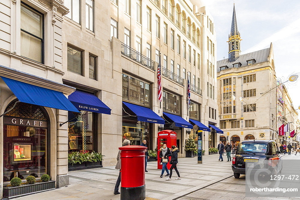 New Bond Street in Mayfair, with its elegant stores and luxury brands, London, England, United Kingdom, Europe