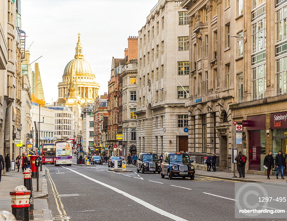 A view of Fleet Street, with St. Pauls Cathedral in the background, London, England, United Kingdom, Europe