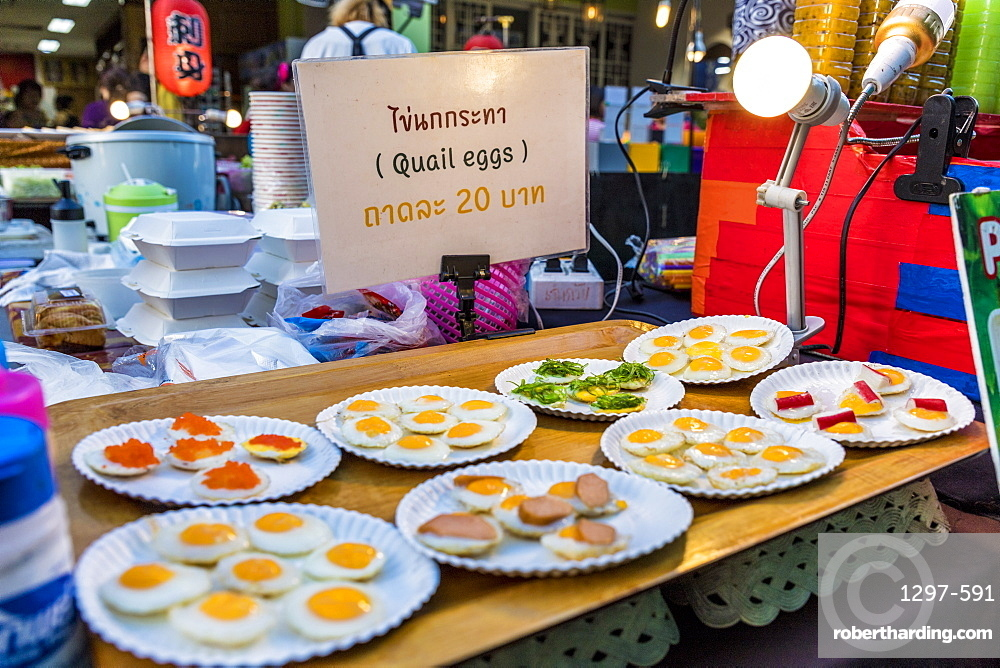 Quails eggs for sale at the famous Walking Street night market in Phuket old Town, Phuket, Thailand, Southeast Asia, Asia