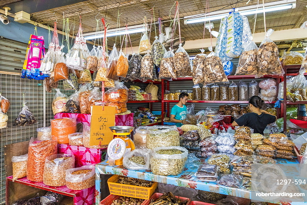 Spices for sale at the indoor market in Phuket old town, Phuket, Thailand, Southeast Asia, Asia