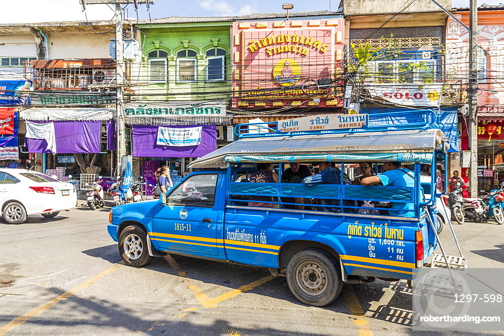 A local bus in Phuket old town, Phuket, Thailand, Southeast Asia, Asia
