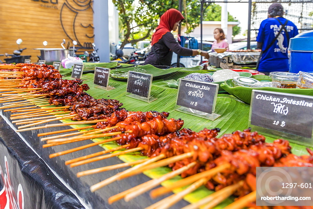 A barbecue meat stall at the Indy market in Phuket old town, Phuket, Thailand, Southeast Asia, Asia