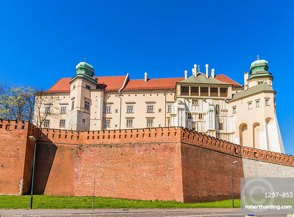 View of Wawel Royal Castle in Krakow, Poland, Europe.
