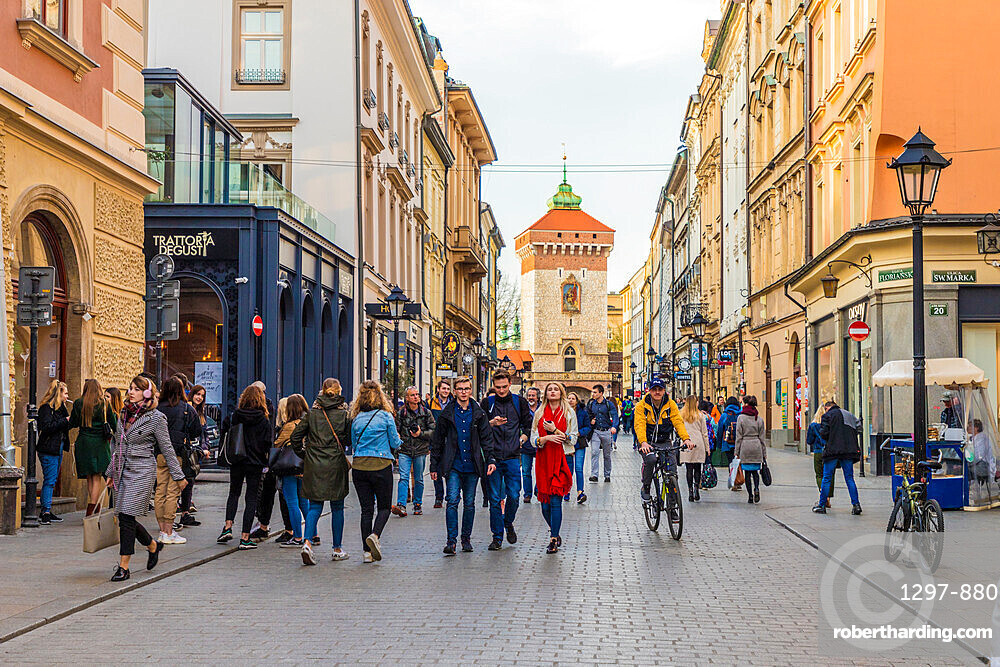 A street scene in the medieval old town, a UNESCO World Heritage site in Krakow, Poland, Europe.