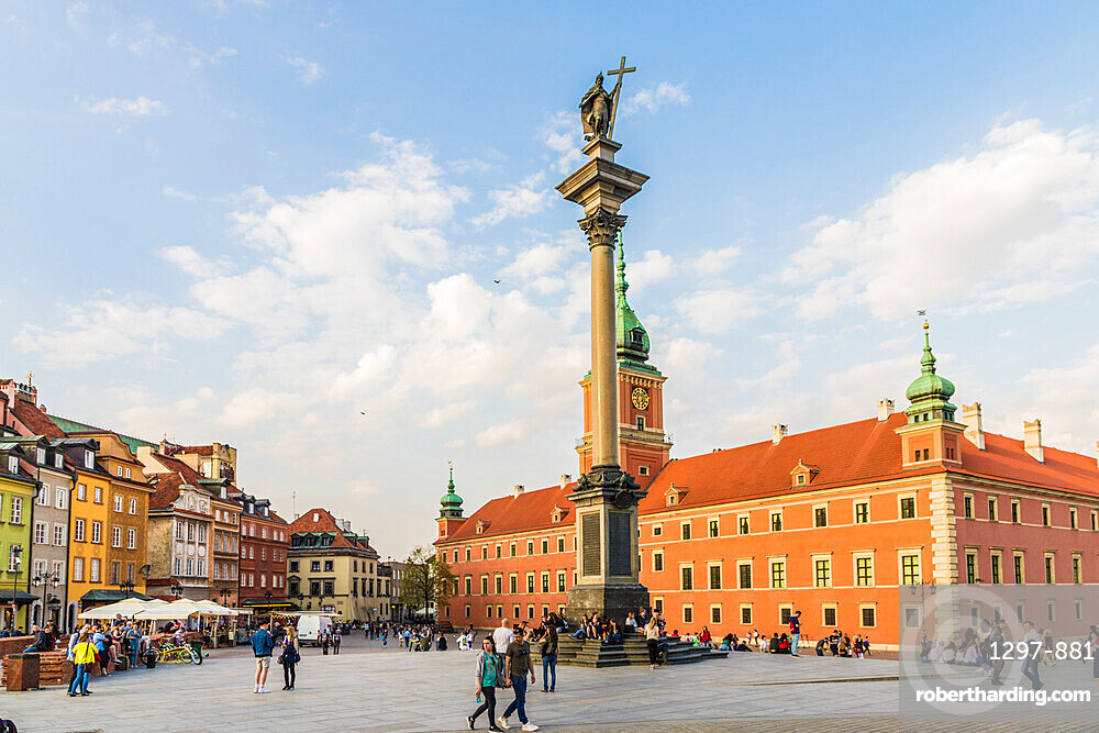 Sigismunds Column and Royal Castle in Royal Castle Square in the old town, a UNESCO World Heritage site in Warsaw, Poland Europe