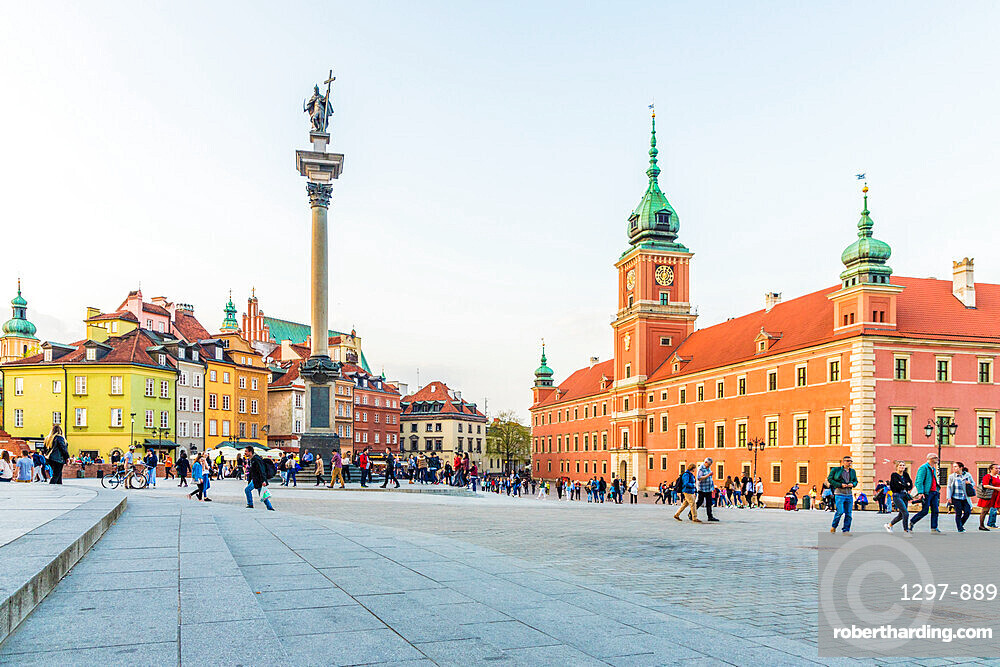 Sigismund's Column and Royal Castle in Castle Square in the old town, a UNESCO World Heritage site in Warsaw, Poland Europe.