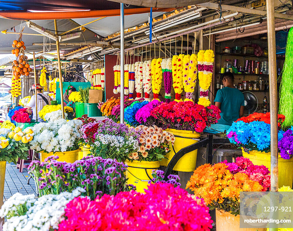 Colourful traditional garland stand in George Town, a UNESCO World Heritage site, Penang Island, Malaysia, Southeast Asia, Asia.