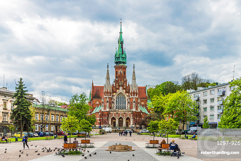 St. Joseph's Church in the former historical Jewish ghetto in Podgorze, Krakow, Poland, Europe.