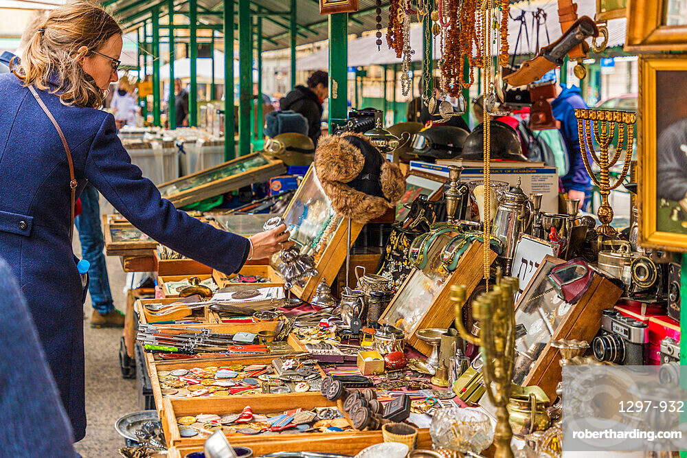 A market stall in Kazmierz, the historical former Jewish District in Krakow, Poland, Europe.