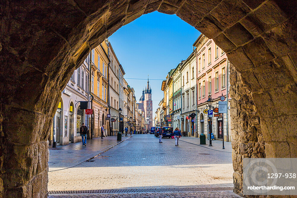 A street scene in the medieval old town, a UNESCO World site, in Krakow, Poland, Europe