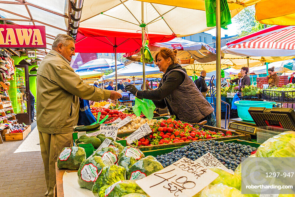 A fruit and vegetable stall at the Unitarg Plac Targowy local market in Krakow, Poland, Europe.