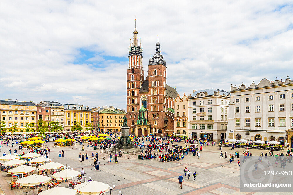 An elevated view towards St Marys Basilica in the medieval old town, a UNESCO World Heritage site, in Krakow, Poland, Europe.