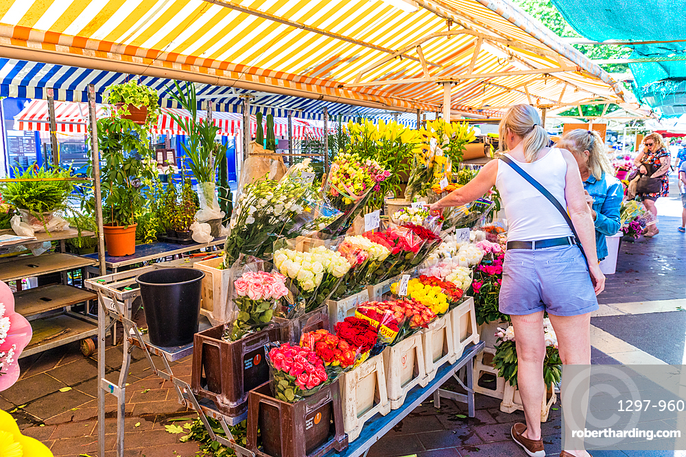 The flower market at Cours Saleya Market, Old Town , Nice, Alpes Maritimes, Cote d'Azur, French Riviera, Provence, France, Mediterranean, Europe