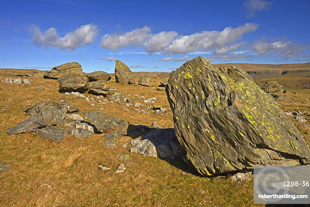 Norber erratic boulders, the result of glacial erosion, found above Crummack Dale, near Austwick, North Yorkshire, England, United Kingdom, Europe