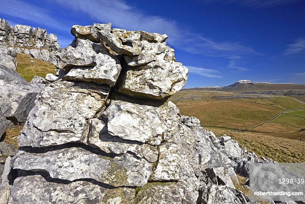 Ingleborough viewed from the limestone escarpment on Kingsdale, Yorkshire Dales National Park, North Yorkshire, England, United Kingdom, Europe