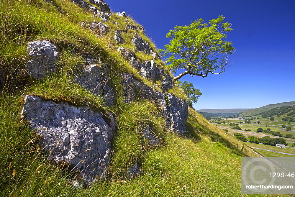 A view of Upper Wharfedale from above Kettlewell, North Yorkshire, England, United Kingdom, Europe