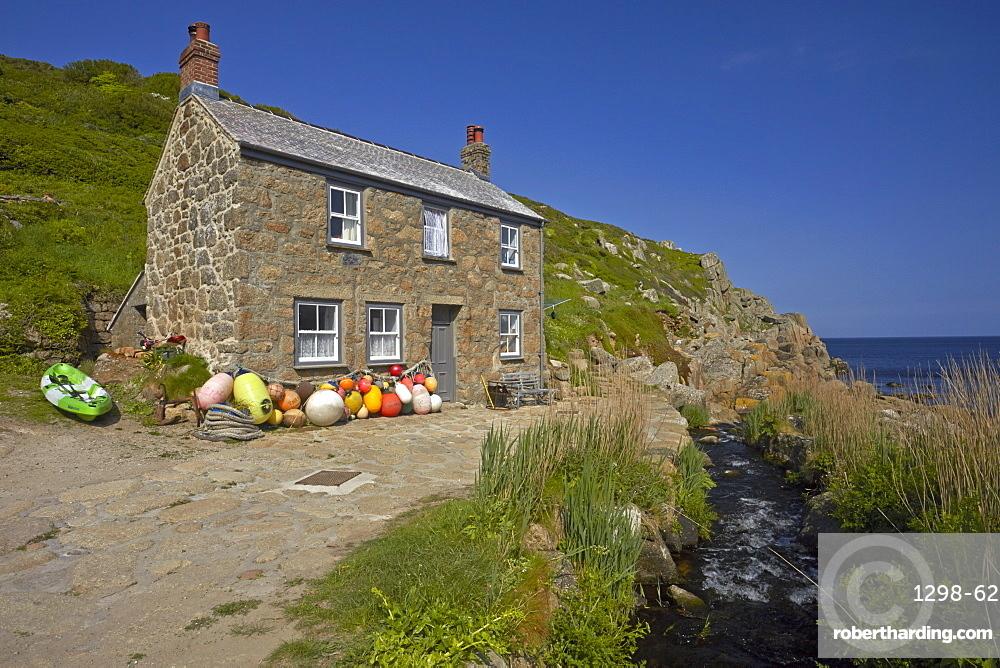 A traditional Cornish fisherman's cottage at Penberth Cove, Cornwall, England, United Kingdom, Europe