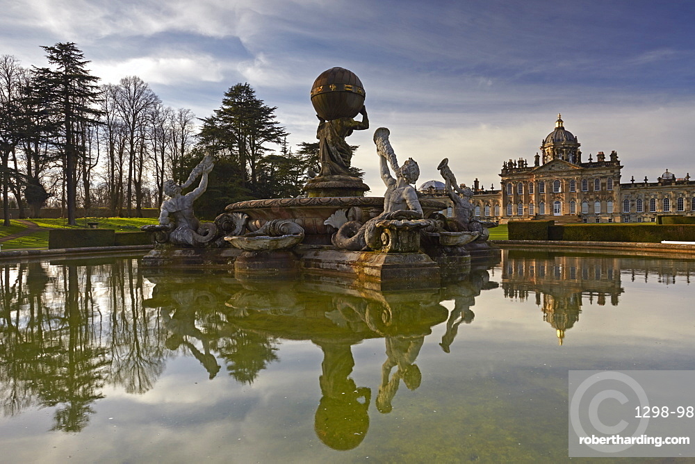 The Atlas Fountain and Castle Howard, North Yorkshire, England, United Kingdom, Europe